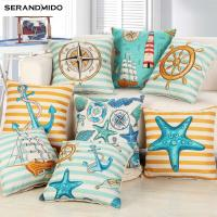 China Marine style Blue Sea Printed Cushion Cover Cotton Linen Coral Anchor Throw Pillow Case Decorative Car Chair Pillowcases on sale