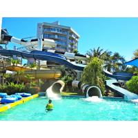 China summer fun Giant Curved waterslide , Fiberglass Open / Closed Spiral Slides wholesale