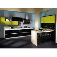China American Style Lacquer Kitchen Cabinets Yellow Beige With Moisture Proof Board wholesale