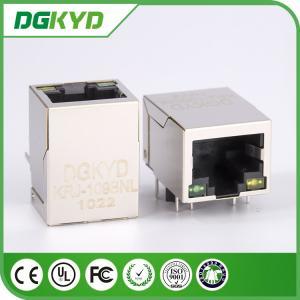 100M 1x1 Tab Down Shield single port CAT5 RJ45 network JACK with filter, LEDS