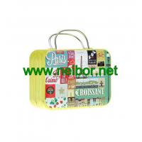 gift tin suitcase tin box with handle for wedding to pack chocolate or candy Manufactures