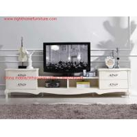 China Ivory Classic TV stand wood furniture Audiovisual cabinet in White matt PU painting wholesale