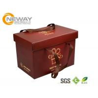 China Custom Gift  Food Boxes , Deluxe Customized Artpaper Handle Cake Box With PVC Window wholesale