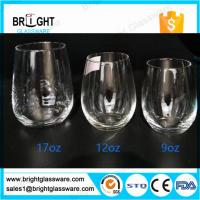 glass cups manufacturers 9OZ 12OZ 16OZ blown stemless wine glass Manufactures