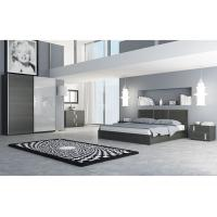 White Glossy Modern Melamine Bedroom Furniture Wenge King Bed Scratch Resistant