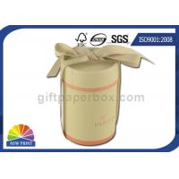 Fancy Gift Paper Packaging Tube with Ribbon , Cylinder Round Paper Box SGS Manufactures