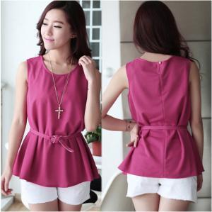 China Chiffon Sleeveless O-Neck Womens Casual Clothing Outfits For Fashion Ladies wholesale