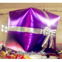 China Customized Purple Large Christmas Inflatable Gift Box for Sale wholesale