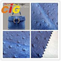 China Ostrich Embossed Polyurethane Leather Popular Customized Bags Artificial Leather Material wholesale