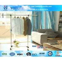 Telescopic Single Pole Clothes Rack / Movable Clothing Drying Hanger with Wheels Manufactures