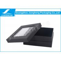 China Pretty Black Cardboard Gift Boxes , Clear PVC Window Base And Lid Cardboard Boxes on sale