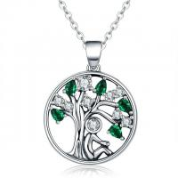 China Green Peridot Tree of Life Sterling Silver Pendant Necklace for Valentines Day Gift wholesale