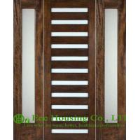 China Customized Solid Mahogany Entry Door with Laminated glass For Villas on sale
