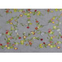 China Soft Colored Embroidered Floral Lace Fabric / Net Lace Fabric For Women Wedding Dress on sale