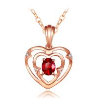 China Romantic Ruby Pendant Necklace For Wedding , Ruby Heart Gold Necklace on sale