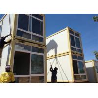 Two Story Prefabricated Container Houses , Flat Roof House Manufactures
