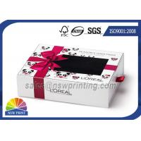 Cream Packing Rectangle Rigid Paper Box Cardboard Drawer Box With PVC Window Manufactures
