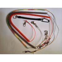 Colorful long safety tether lanyard coil with carabiner ring loop&metal crimp leashes