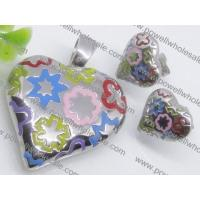 China Attractive Colorized Murano Glass Jewelry Set Heart Shaped Costume Necklace and Ear2900086 on sale
