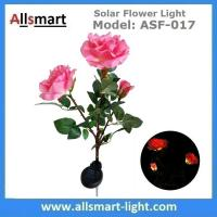 China 3LED Pink Solar Powered Rose Flower Light Outdoor Lamp Stake for Home Garden Yard Lawn Pathway Party Decor Landscape on sale