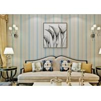 Blue Modern Living Room Wallpaper , Interior Modern Striped Wallpaper Strippable Manufactures