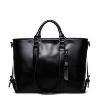 Buy cheap Classic Large Capacity Black Leather Shoulder Bag , Women Messenger Bags With Adjustment Buckle from wholesalers