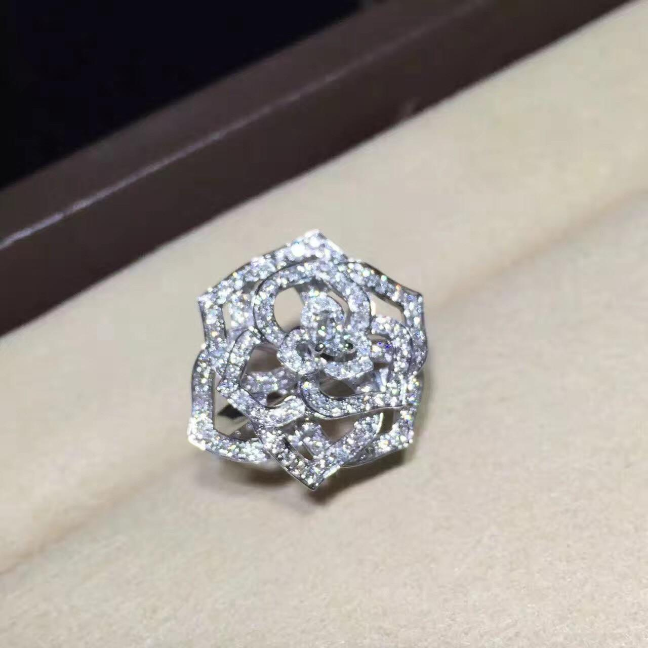China Piaget Rose Ring High End Custom Jewelry 18K White Gold Set With Diamond wholesale
