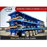 40 Foot / 20 Foot Flatbed Container Trailer With Tool Box Four BPW / FUWA Axles Manufactures