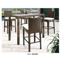 China patio high top wicker rattan bar table and chair with Cushion outdoor chair on sale