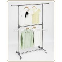 Mobile Steel Standing Metal Clothes Rack with Wheels , Movable Two Layer Manufactures