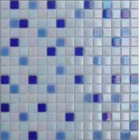 China gold glass mosaic tile with dots on sale