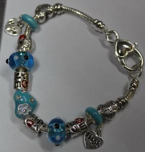 China European Style Silver Charm heart shape Bracelet 19cm. Aqua Murano glass beads CRAB Heart, gifts for women on sale