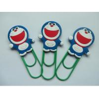 China Lovely Doraemon Rubber PVC Bookmark With Green Clip , Mini Size , Best Christmas Gift For Children on sale