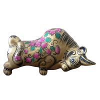 China clay sculpture Chinese Zodiac business gift  painted cow birthday gift wholesale