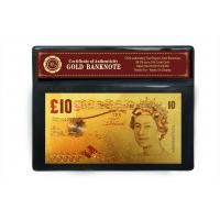 Colorful 10 Pound Britain Banknote Layered in 24kt .9999 Gold For business GIFT Manufactures