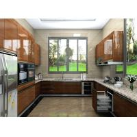 China Custom U Shape High Gloss Lacquer Kitchen Cabinets With Granite Countertop wholesale
