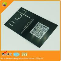 China laser out black metal business cards with QR code(thickness 0.3mm/0.5mm/0.8mm etc) on sale