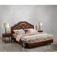 China Leather / Fabric Upholstered Headboard Bed for Hotel Bedroom interior Furniture with Wooden nighstand in Cheap price wholesale