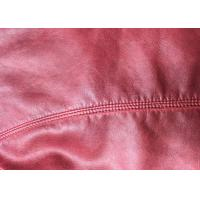 0.65mm red color PU Synthetic leather with rayon backing fabric can be dyed for garment