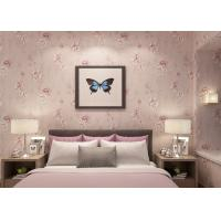 Light Purple Rustic Floral Home Interior Wallpaper Vinyl Coated For Room Decoration Manufactures