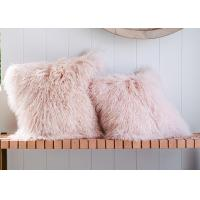 China Long Wool Pink Mongolian Lamb Fur Throw Pillow 20x20 Inch For Air Condition Room on sale