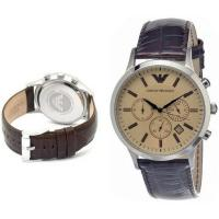 China Wholesale New Emporio Armani AR2433 Brown Leather Amber Crystal Classic Men's Watch on sale