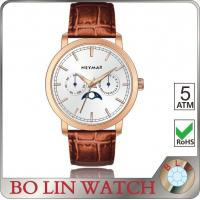 Buy cheap Moon Phase Brand Genuine Leather Watches For Women True Nail Index Style from wholesalers