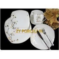 Square Porcelain Dinnerware Ceramic Dinner Plates European Dishes Black And Gold Dishes