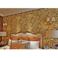 China Removable Strippable Country Style Wallpaper , Deep Embossed PVC Flower Wall Covering wholesale