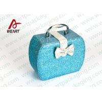 Customized Blue Glitter Organized Makeup Case With White Bow Manufactures