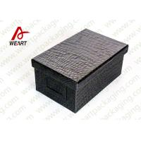 Black Leather Coated  Branded Products Cardboard Gift Boxes With Lids OEM Manufactures