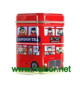 London bus design mini size square tea tin box 25g Manufactures