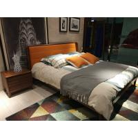 2017 New design of  Leather Upholstered headboard Bed by Walnut wood frame for Young Apartment  bedroom furniture use Manufactures