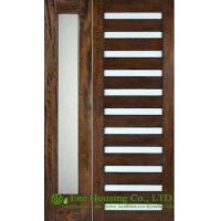 China Prehung solid Timber Entry door with frosted glass, PU painted on sale